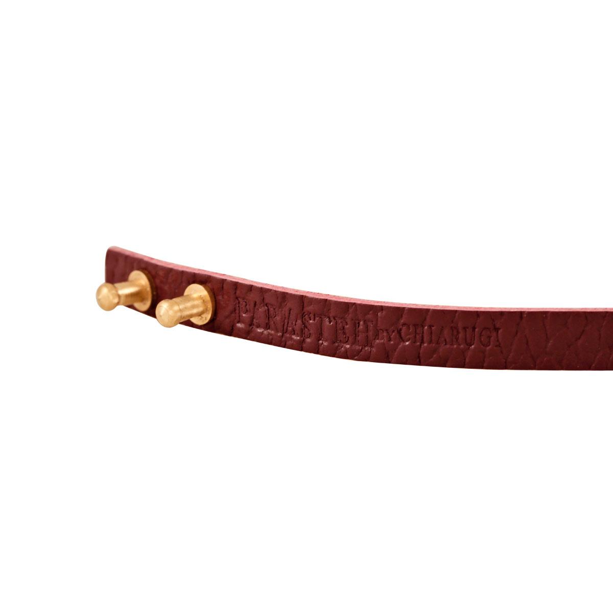 دستبند طلا چرمی بنفش بیضی کوچک نگین دار