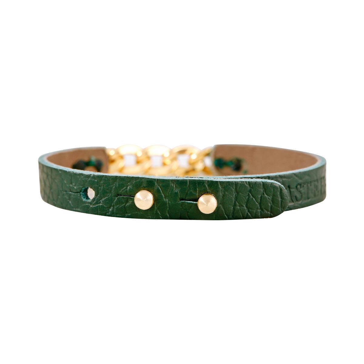 دستبند طلا چرمی سبز کارتیه