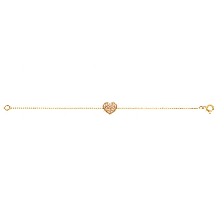دستبند طلا قلب نگین دار
