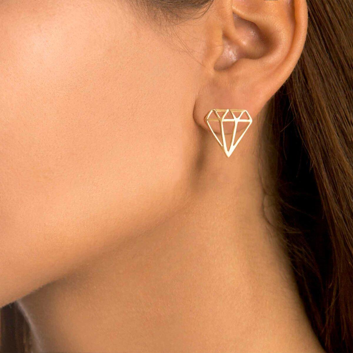 گوشواره طلا الماس بزرگ
