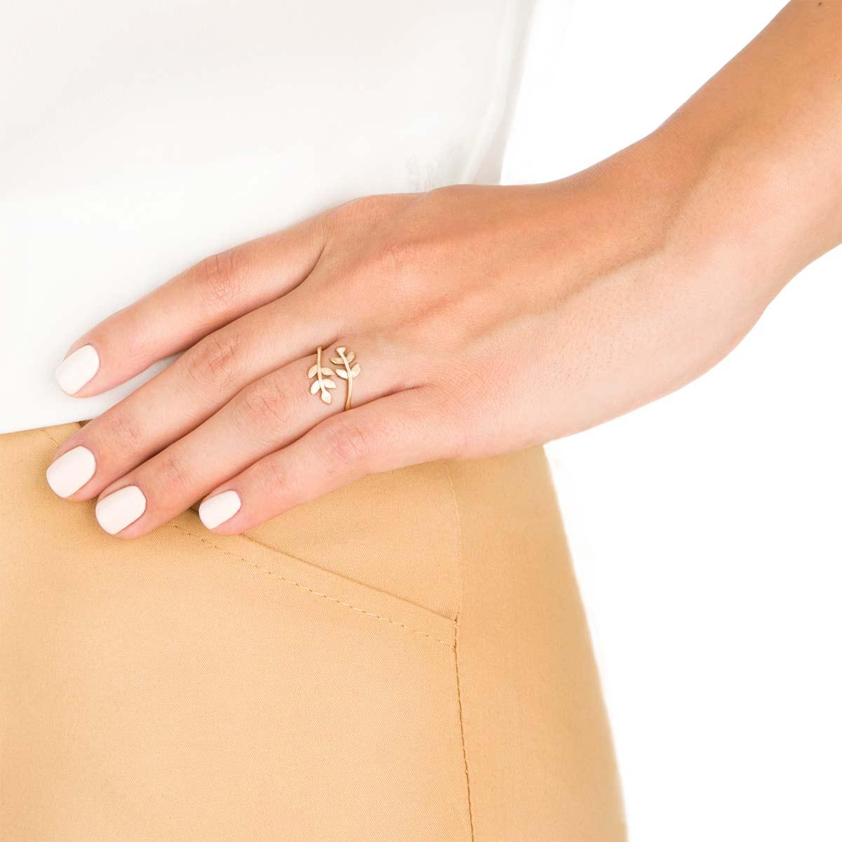 انگشتر طلا برگ زیتون کوچک