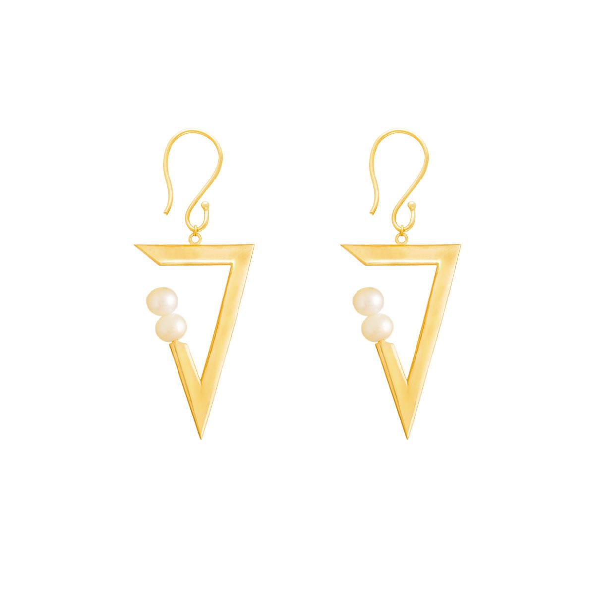 گوشواره طلا مثلث و مروارید