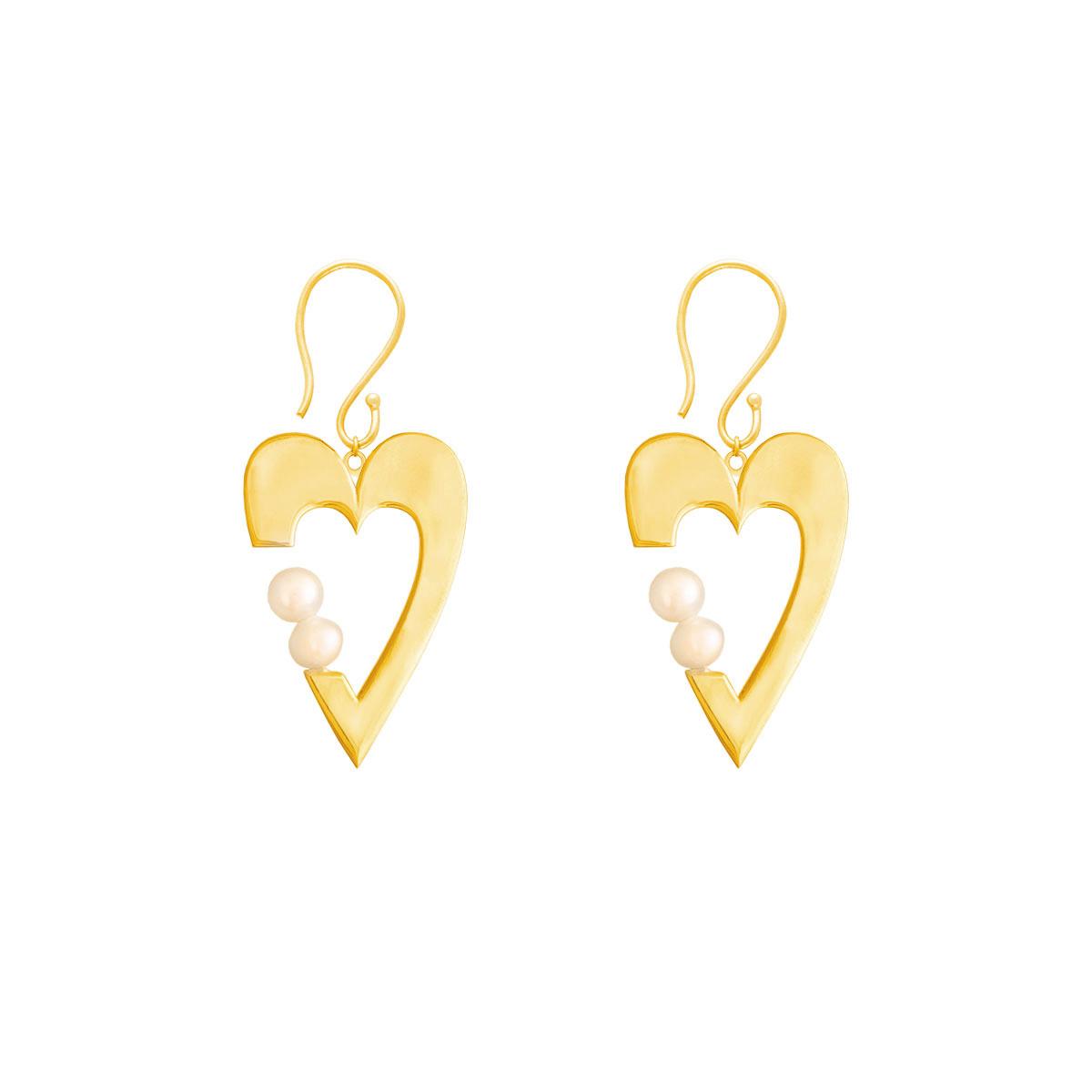 گوشواره طلا قلب و مروارید