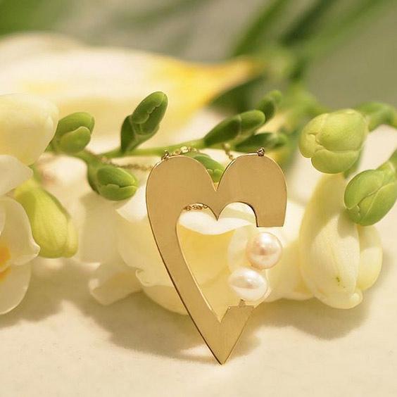گردنبند طلا قلب و مروارید