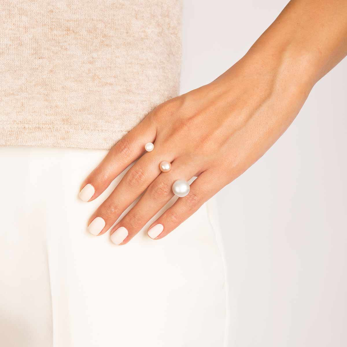 انگشتر طلا دو انگشتی مروارید