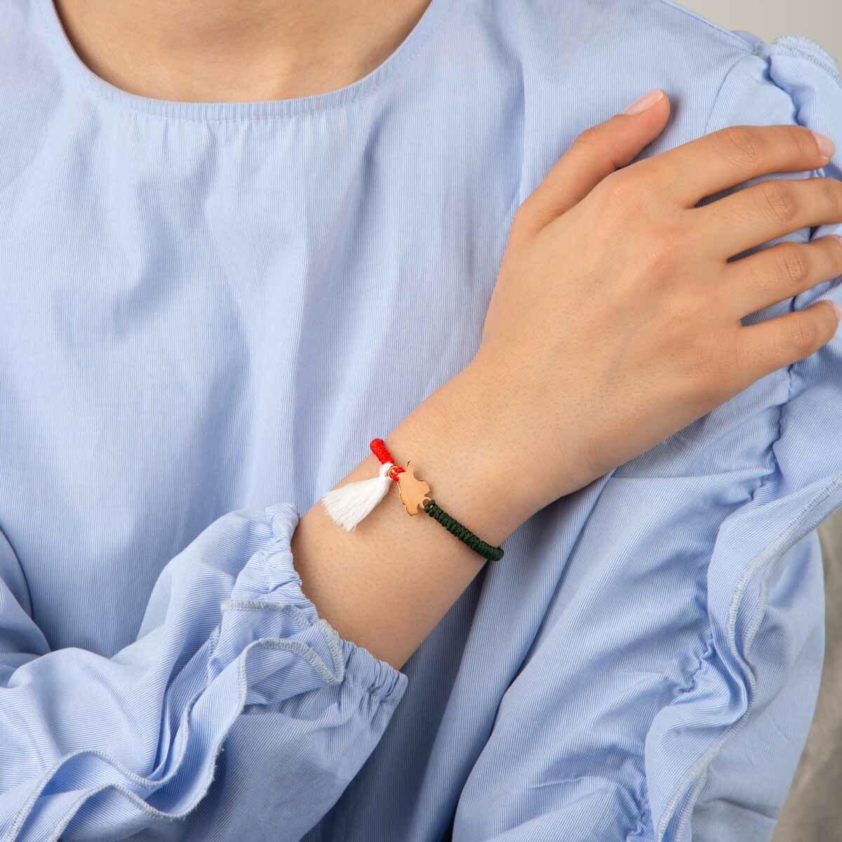 دستبند بافت طلا نقشه ایران کوچک
