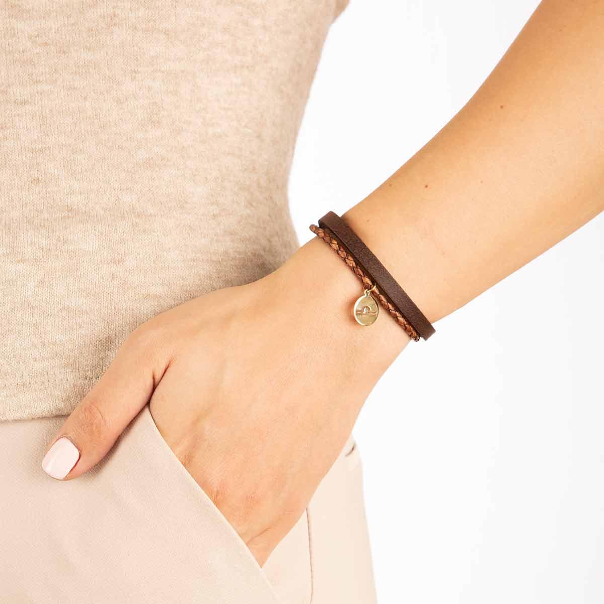 دستبند طلا نماد ماه مهر پرسته