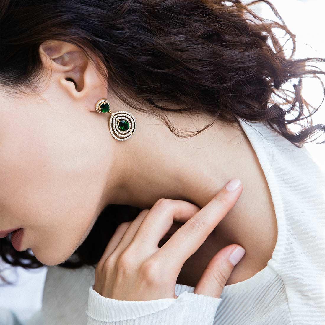 گوشواره طلا اشک سبز