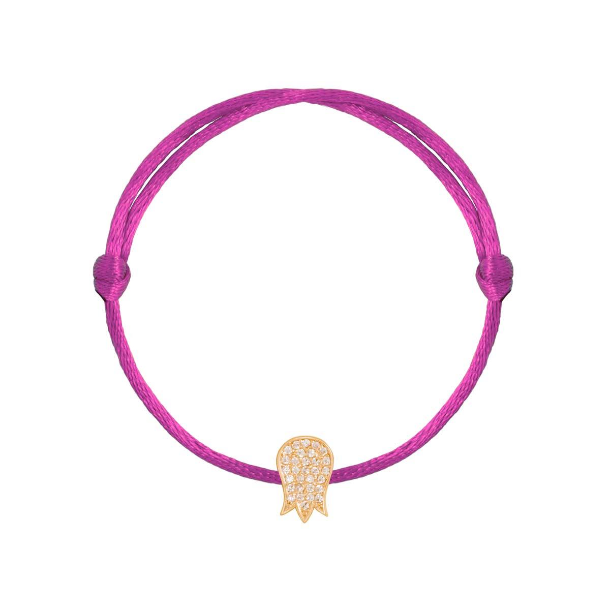 دستبند طلا گل لاله نگین دار