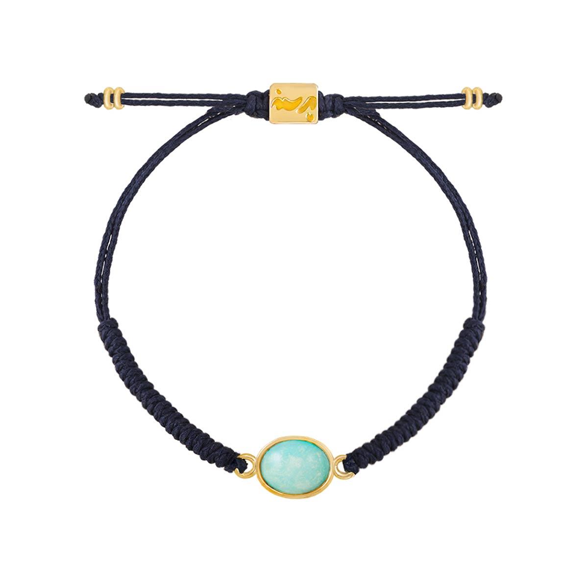 دستبند طلا بافت فیروزه دایره کوچک
