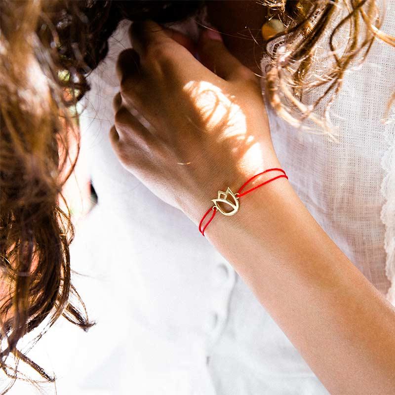 دستبند طلا گل لاله پرسته