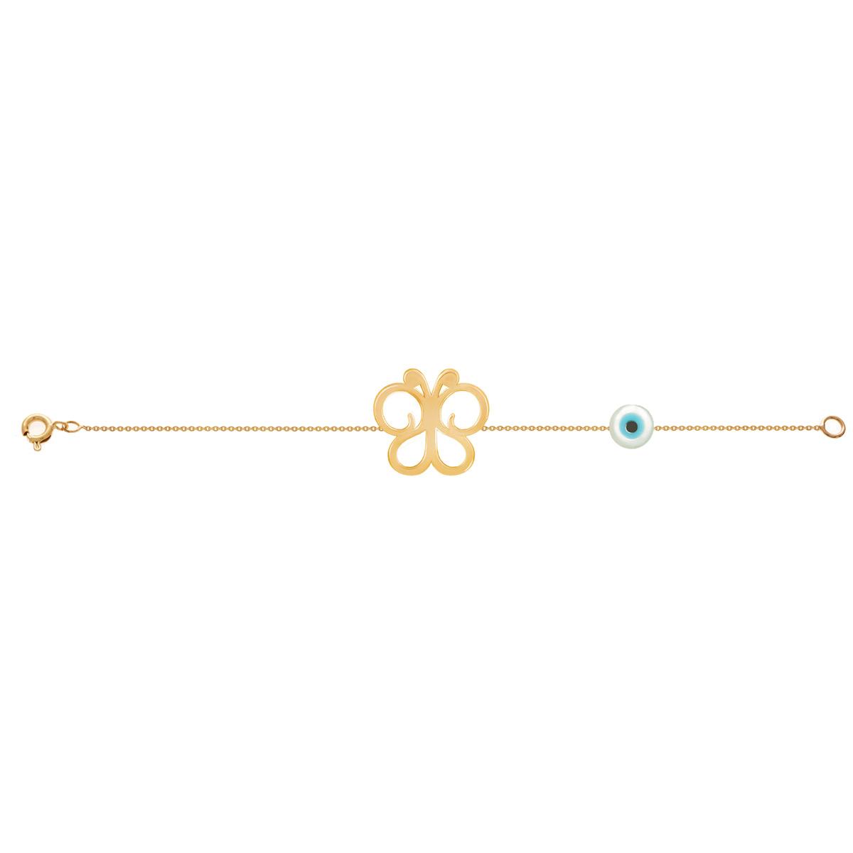 دستبند طلا دخترانه پروانه