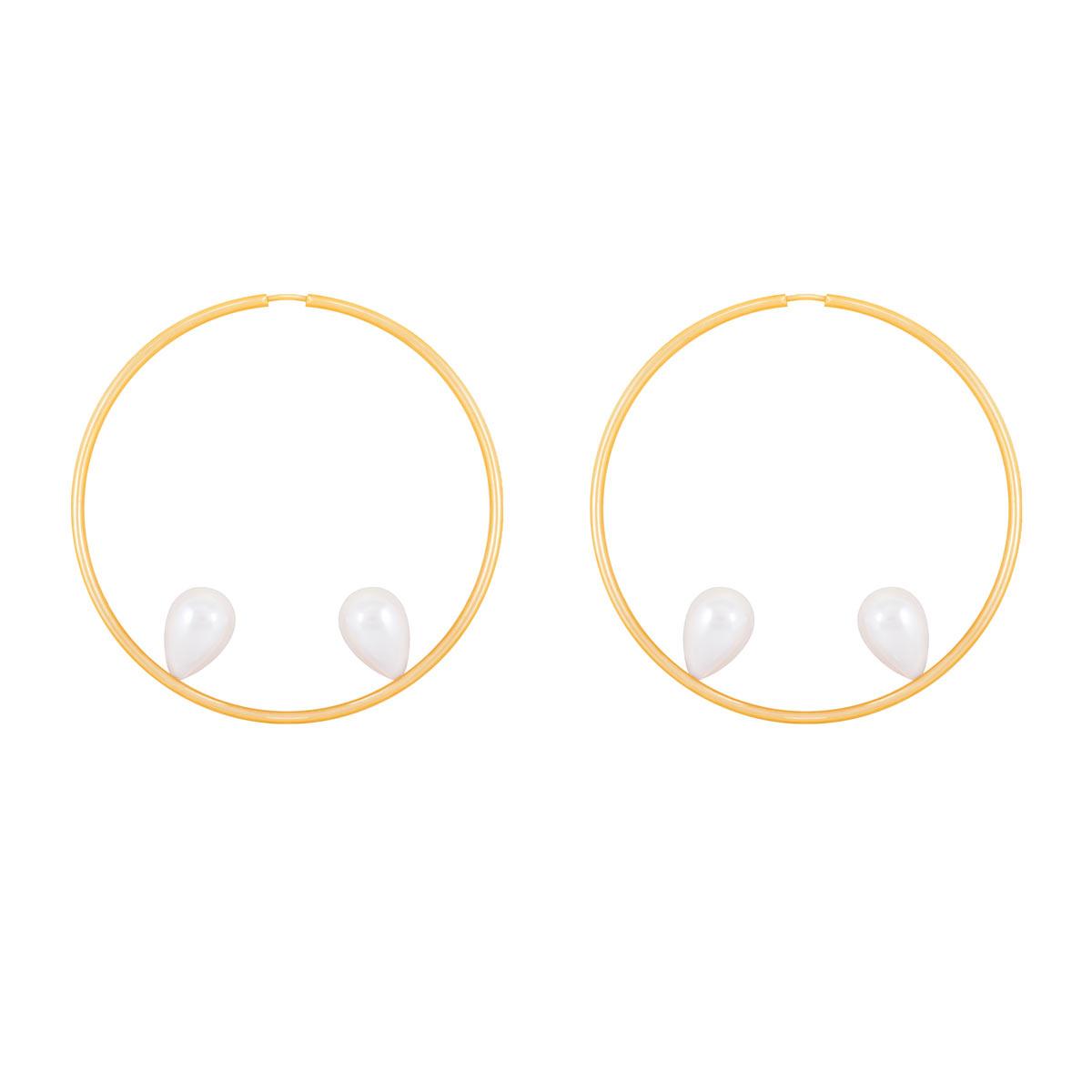گوشواره طلا حلقه و مروارید