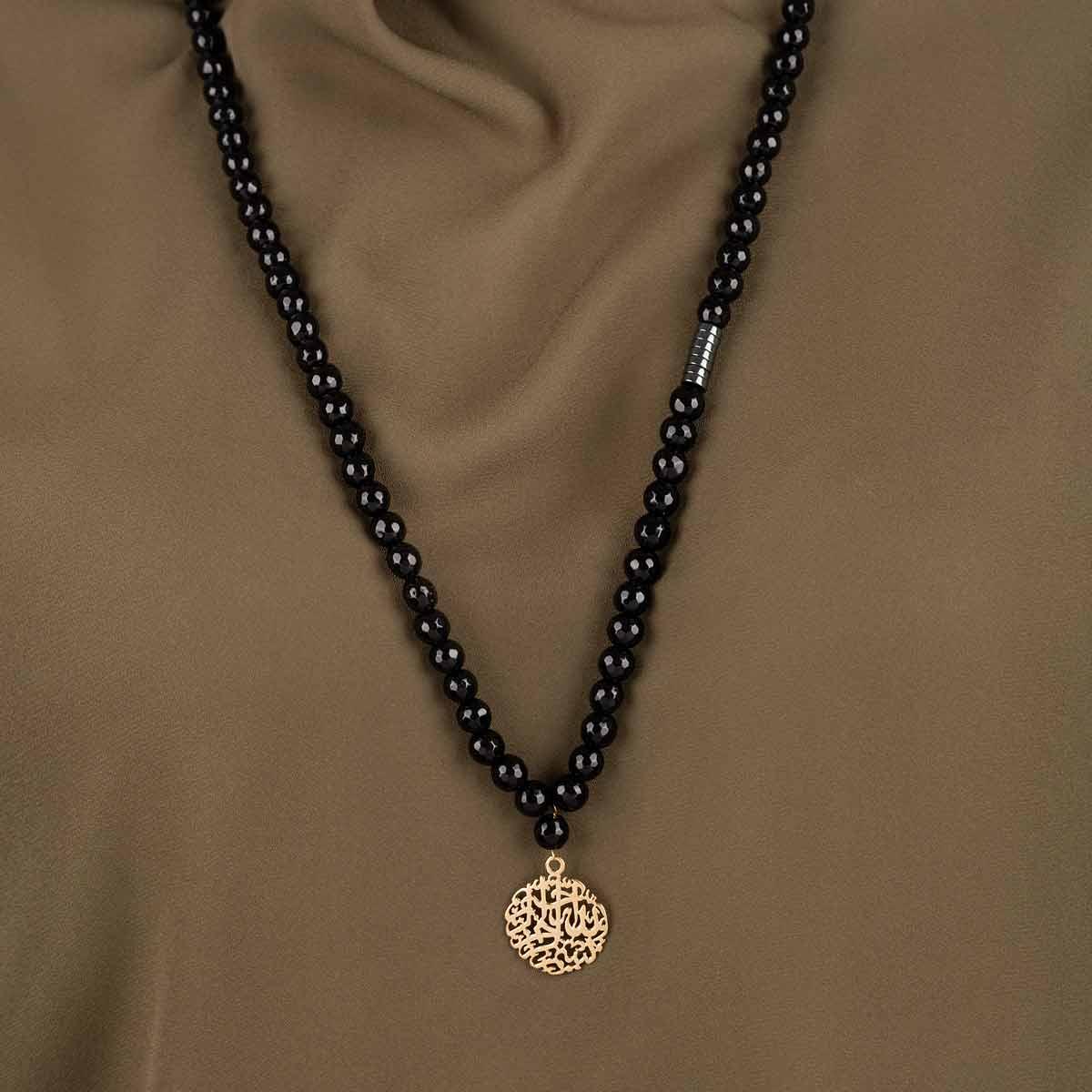 گردنبند طلا سنگی بسم الله کوچک