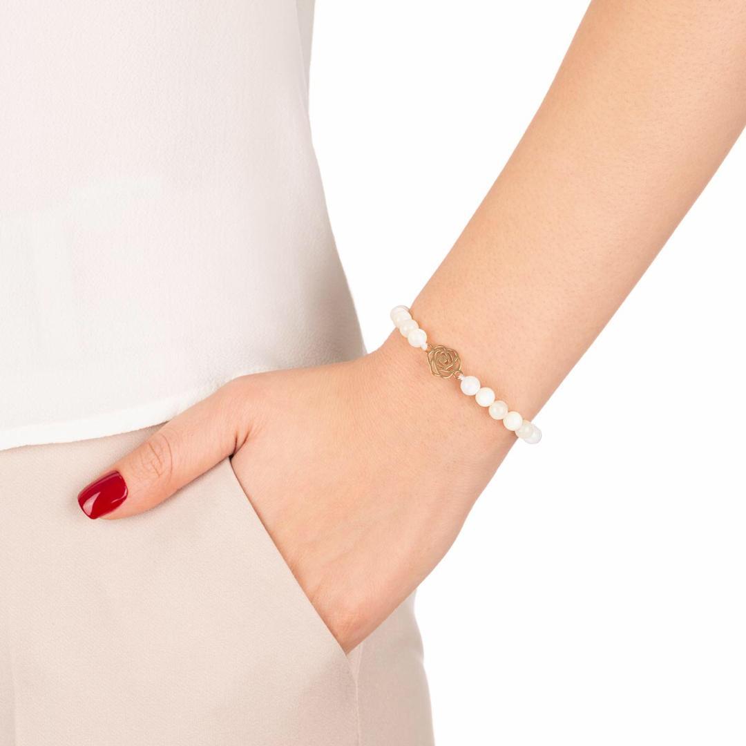 دستبند طلا سنگی گل رز کوچک