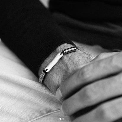 دستبند طلا پلیت و حدید تیره