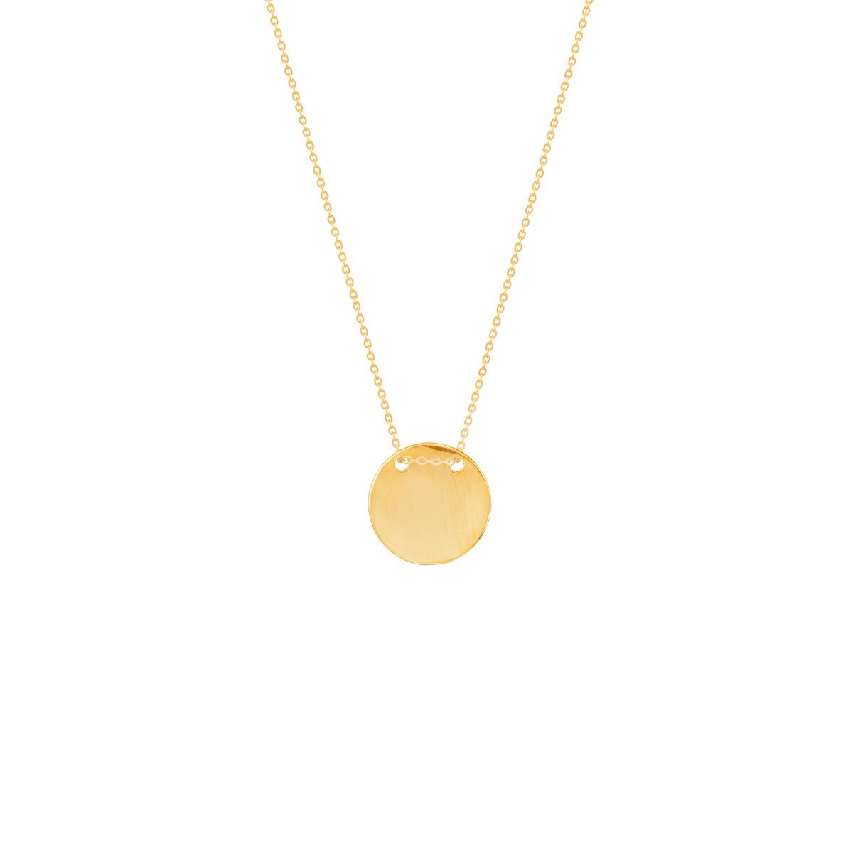 گردنبند طلا دایره حکاکی بخیه ای متوسط