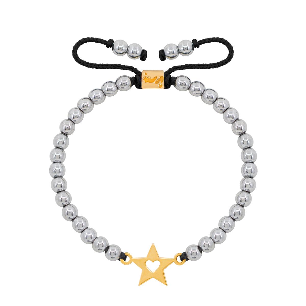 دستبند طلا سنگی ستاره و قلب