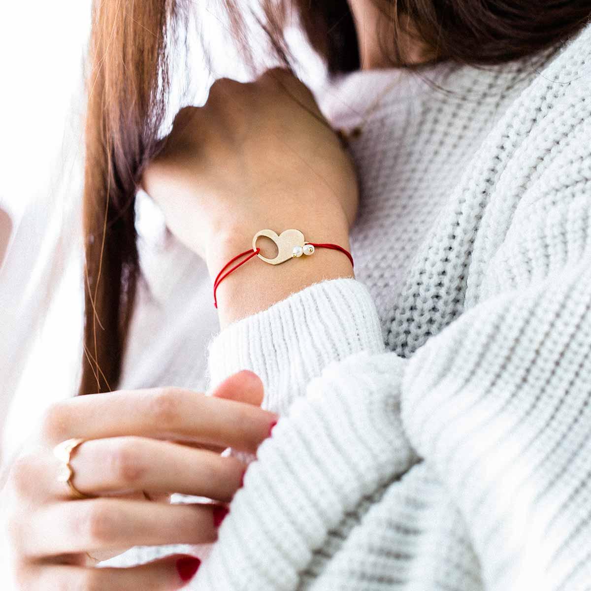 دستبند طلا قلب توخالی پرسته