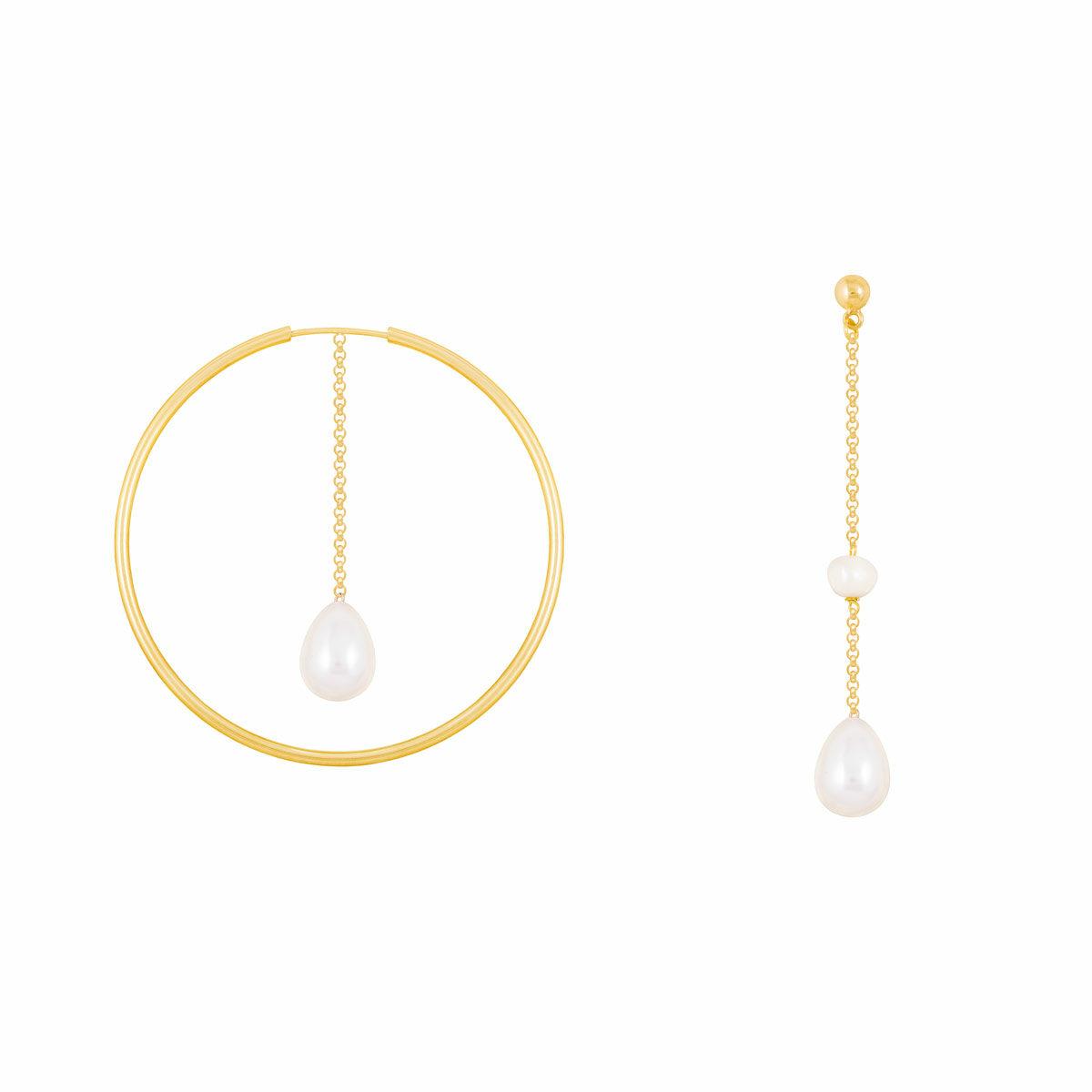 گوشواره طلا حلقه و زنجیر مروارید