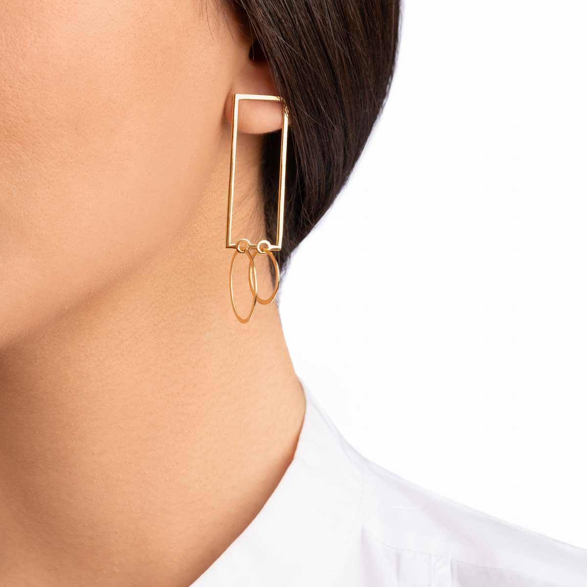 گوشواره طلا مستطیل و دایره