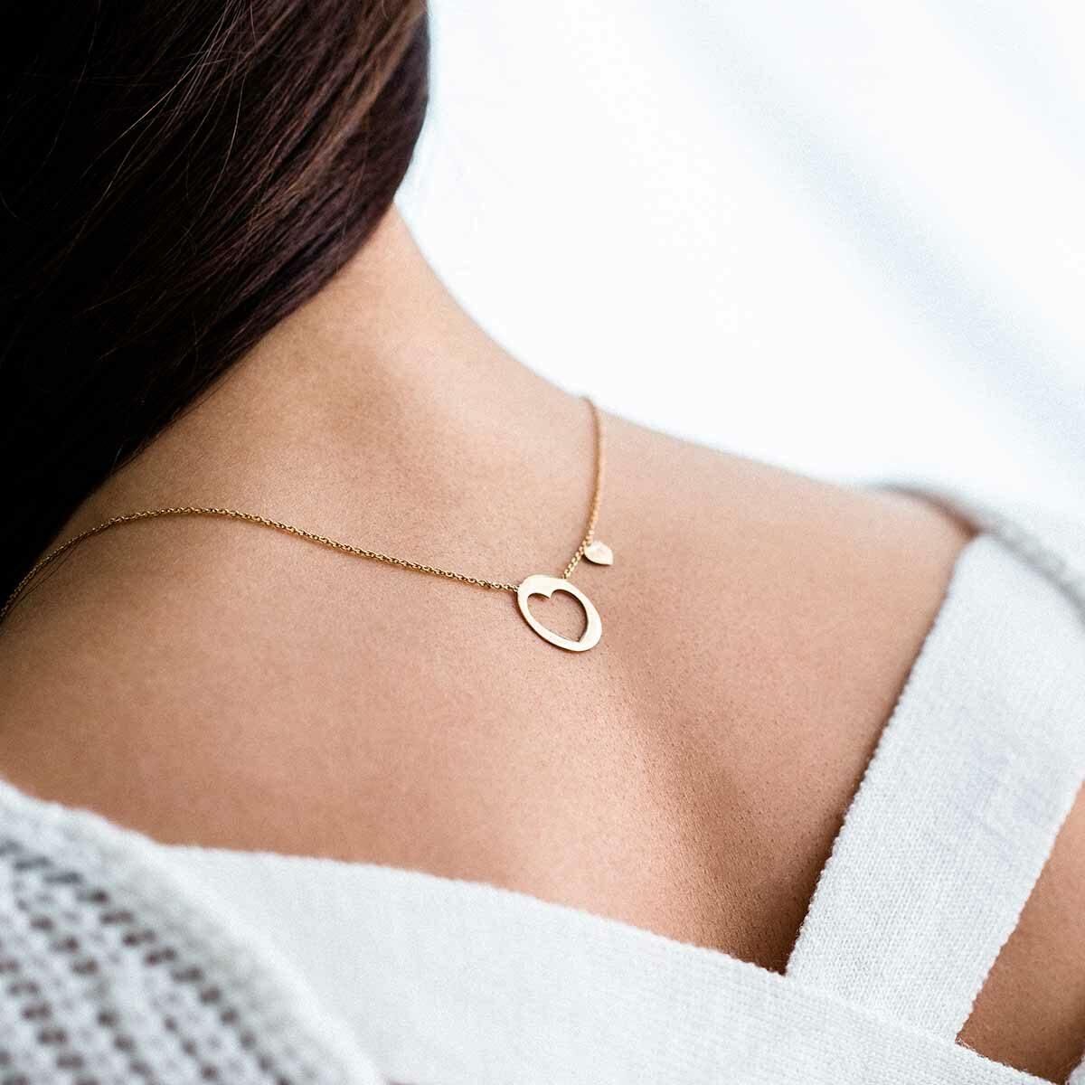 گردنبند طلا پلاک قلب بزرگ پرسته