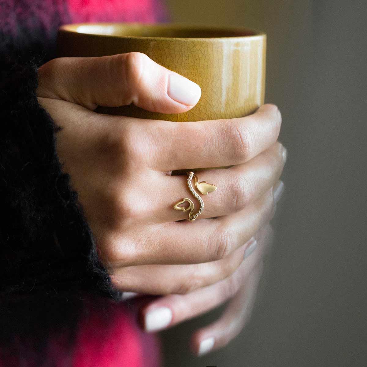 انگشتر طلا دو برگ