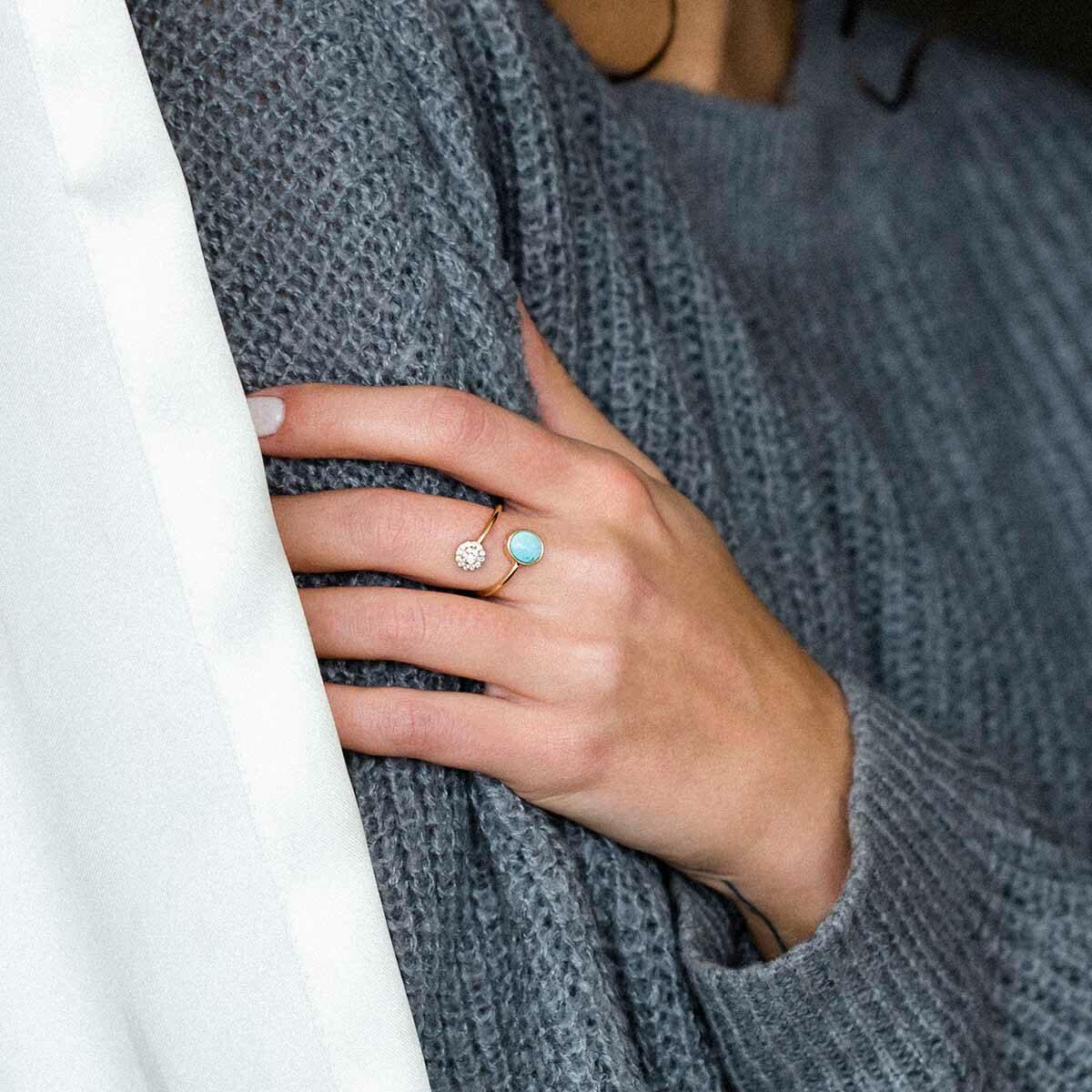 انگشتر طلا دایره نگین دار و فیروزه پرسته