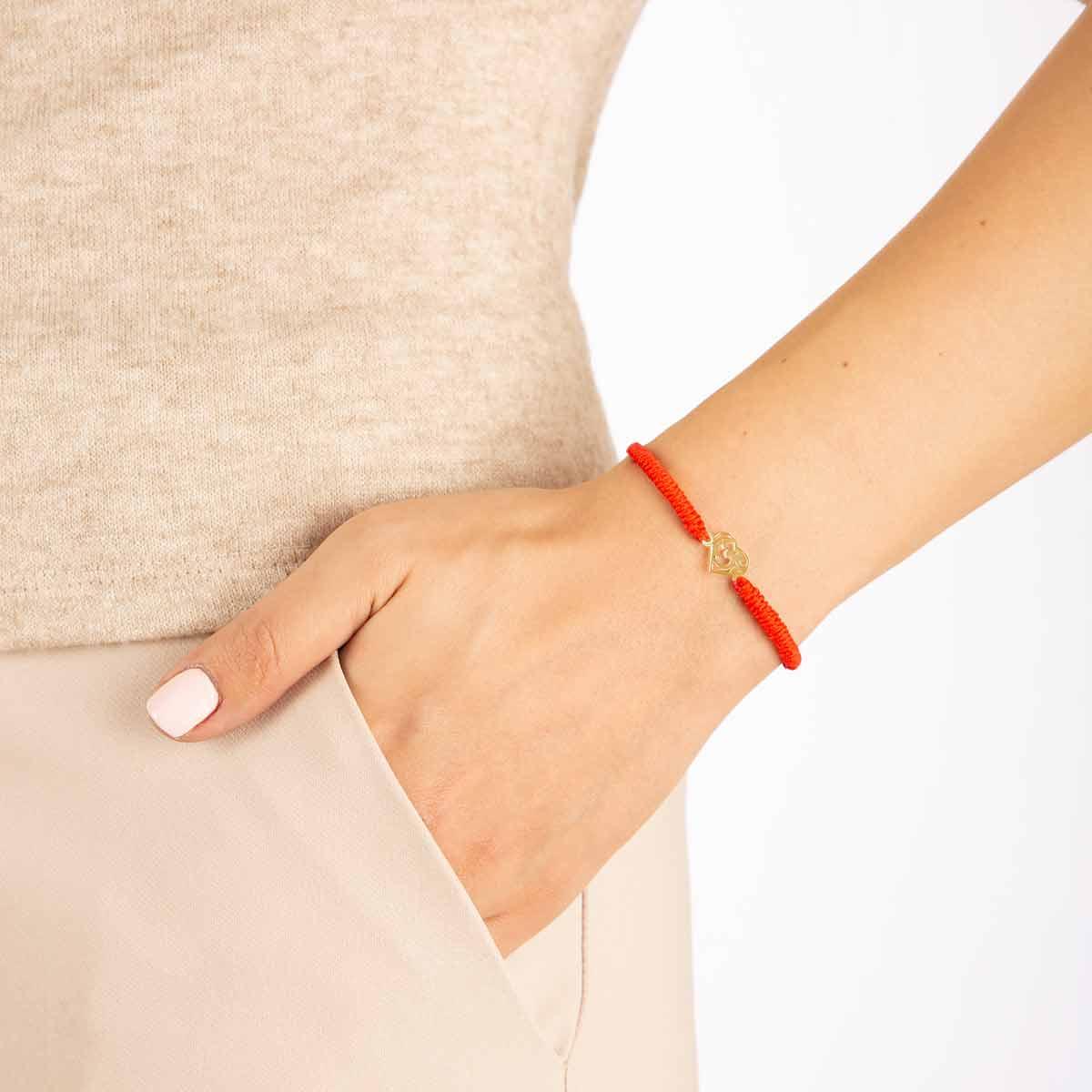دستبند طلا بافت قلب طرح دار