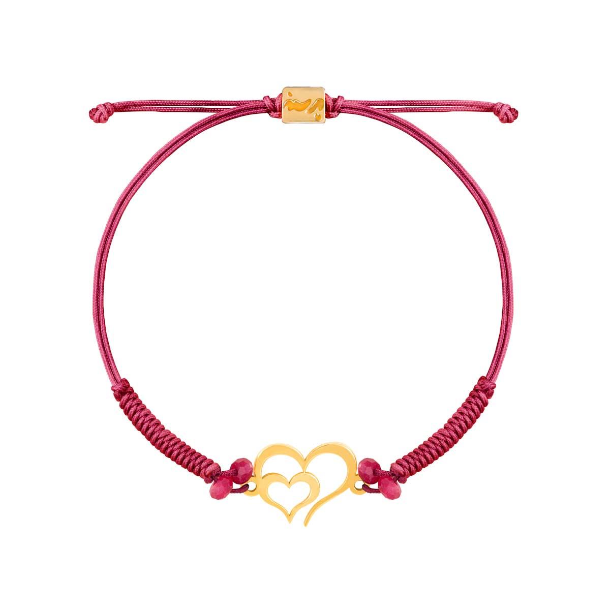 دستبند طلا دو قلب تو خالی |parasteh
