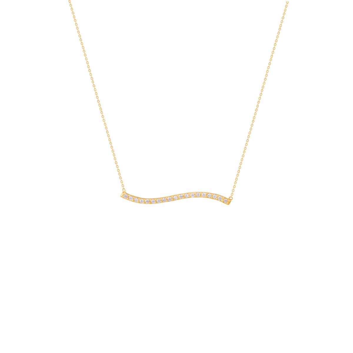 گردنبند طلا منحنی و نگین