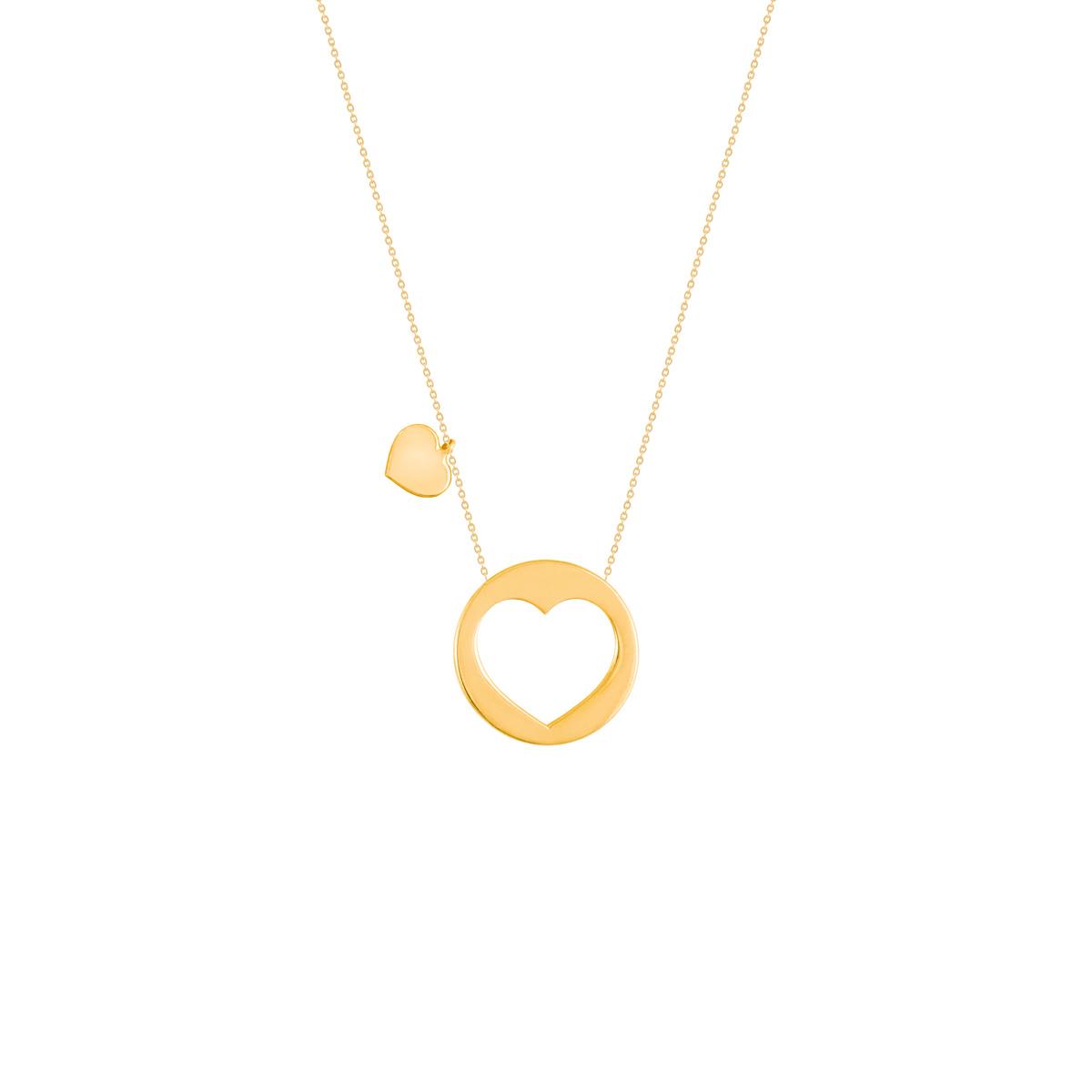 گردنبند طلا پلاک قلب بزرگ |parasteh