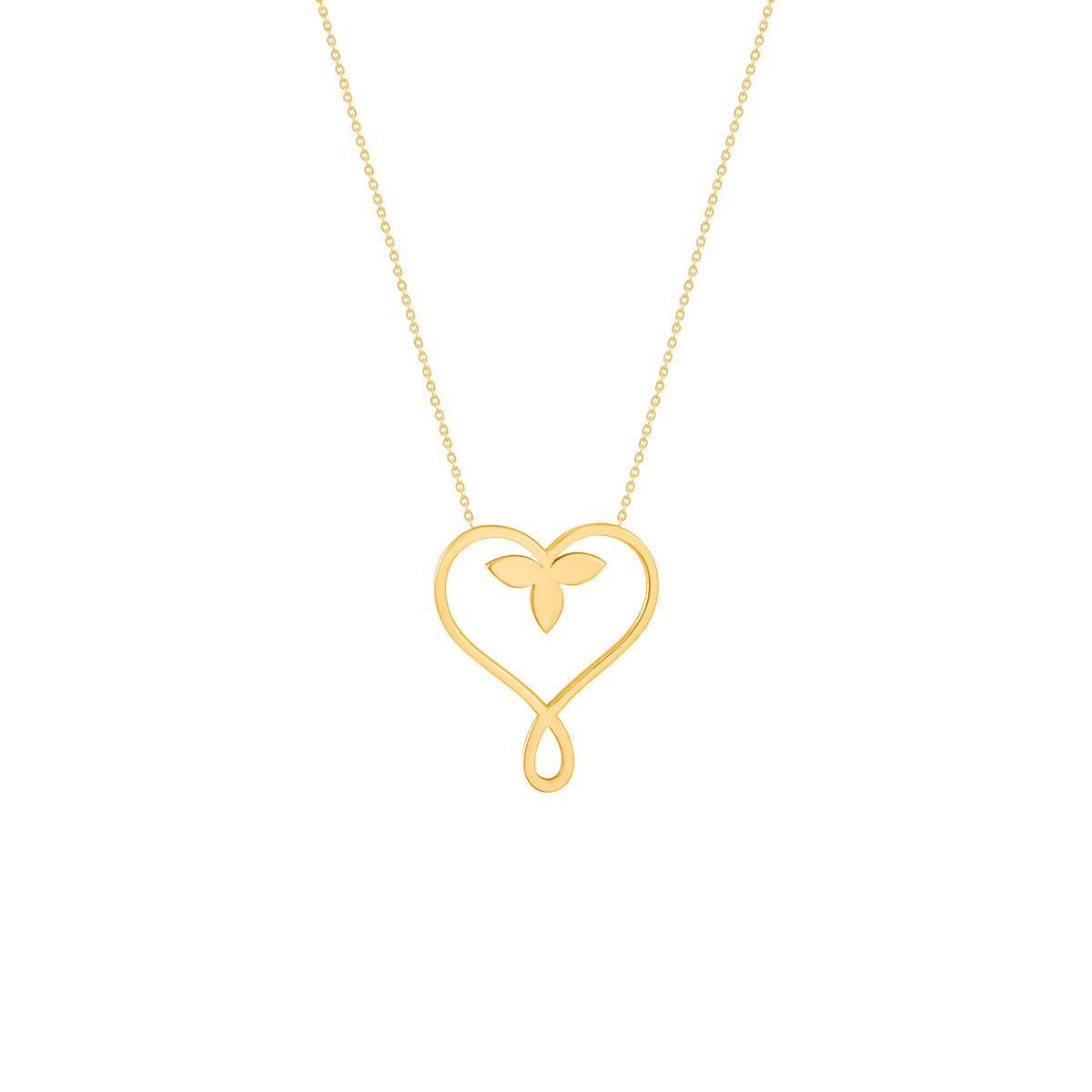 گردنبند طلا قلب و برگ