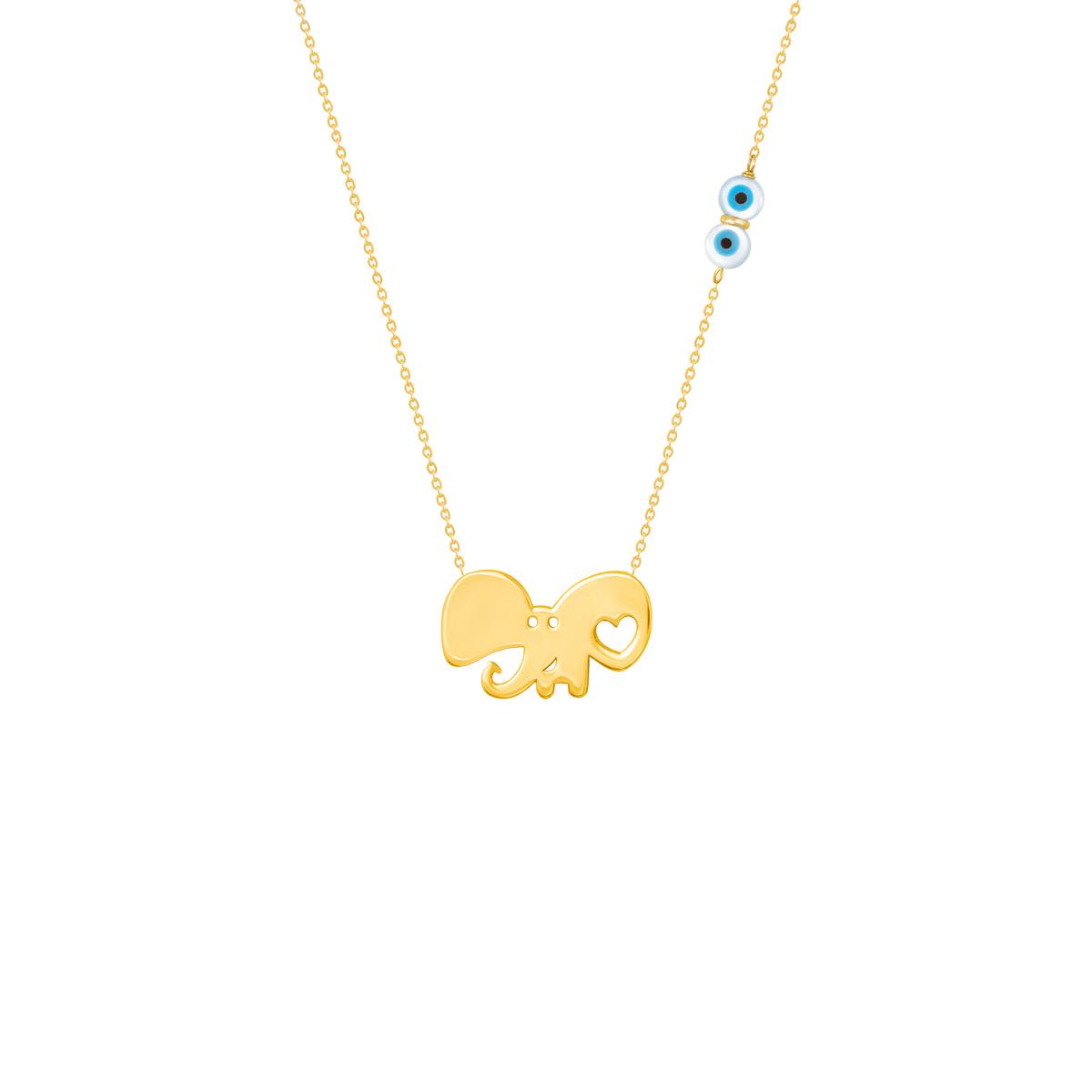 گردنبند طلا دخترانه فیل و فلب |parasteh