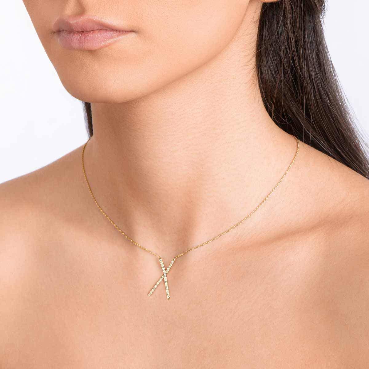 گردنبند طلا ضربدر نگین دار