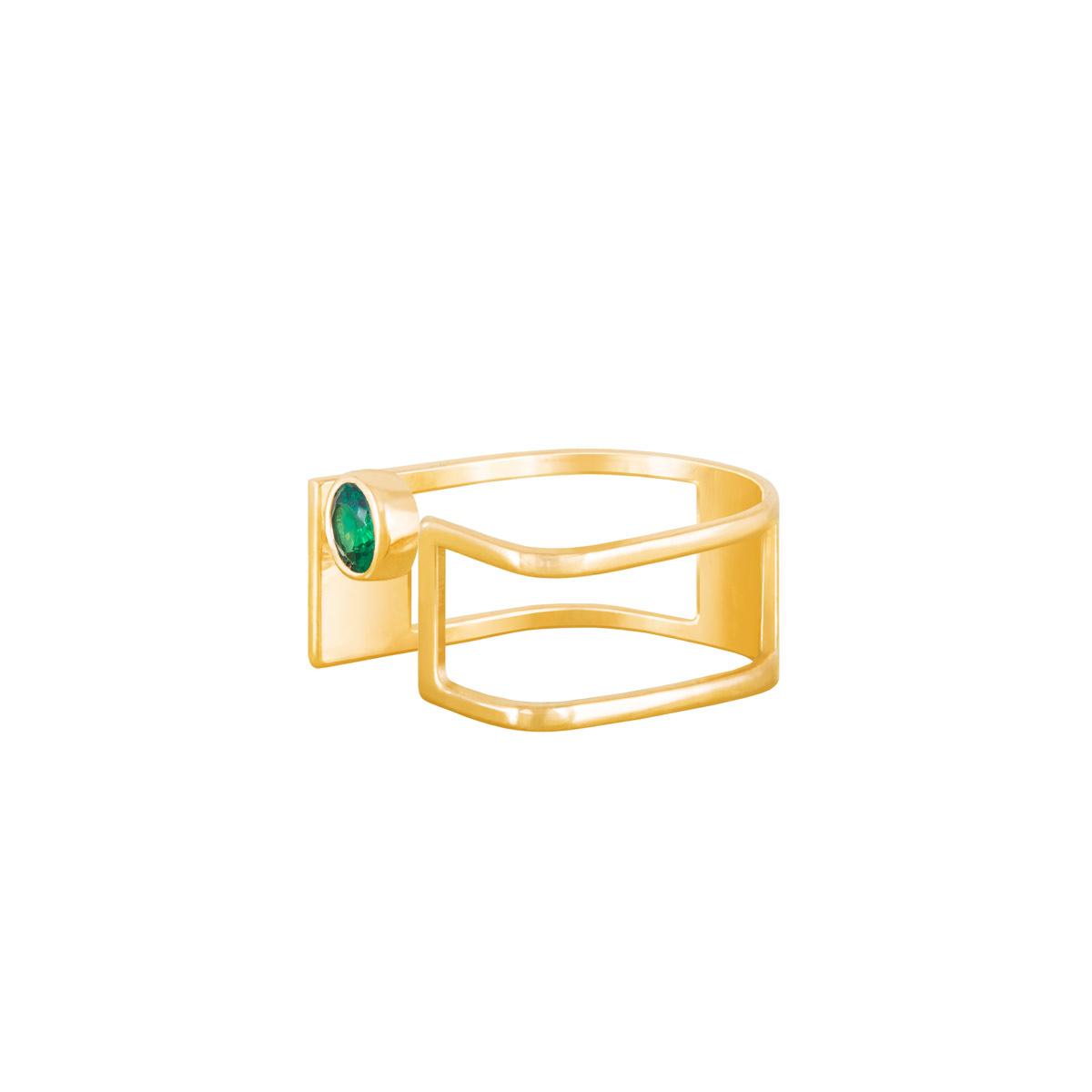 انگشتر طلا دایره سبز |parasteh