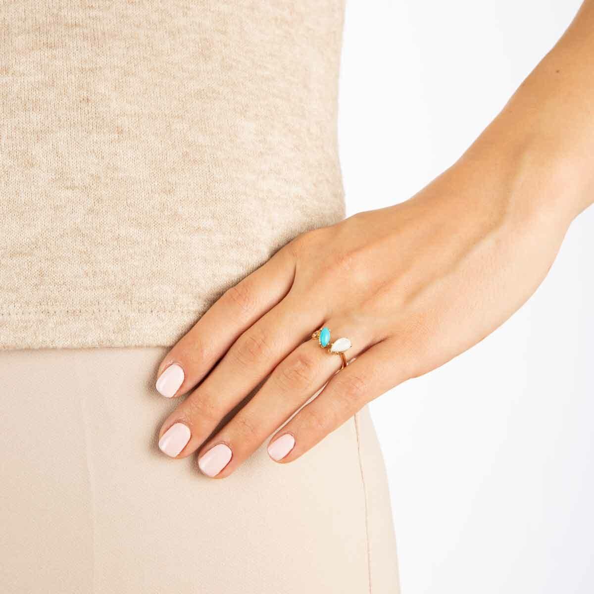 انگشتر طلا فیروزه و صدف و تک نگین پرسته