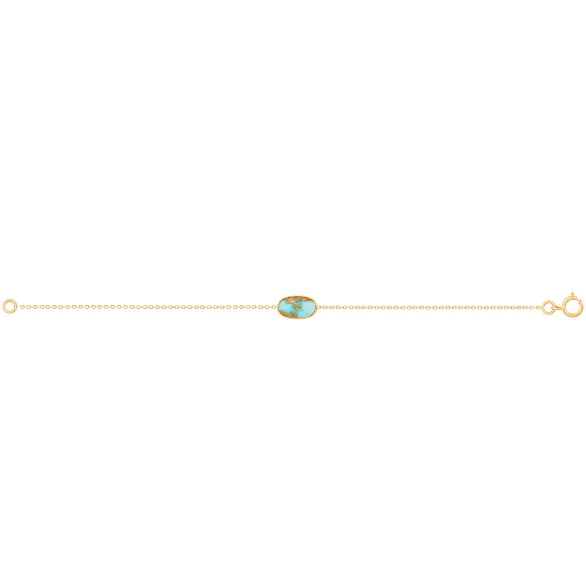 دستبند طلا فیروزه بیضی پرسته