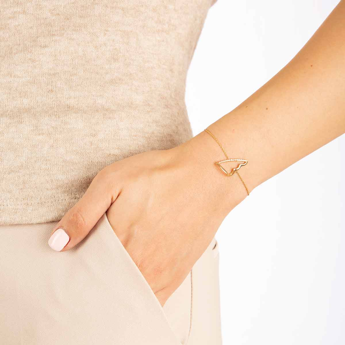 دستبند طلا بال نگین دار پرسته