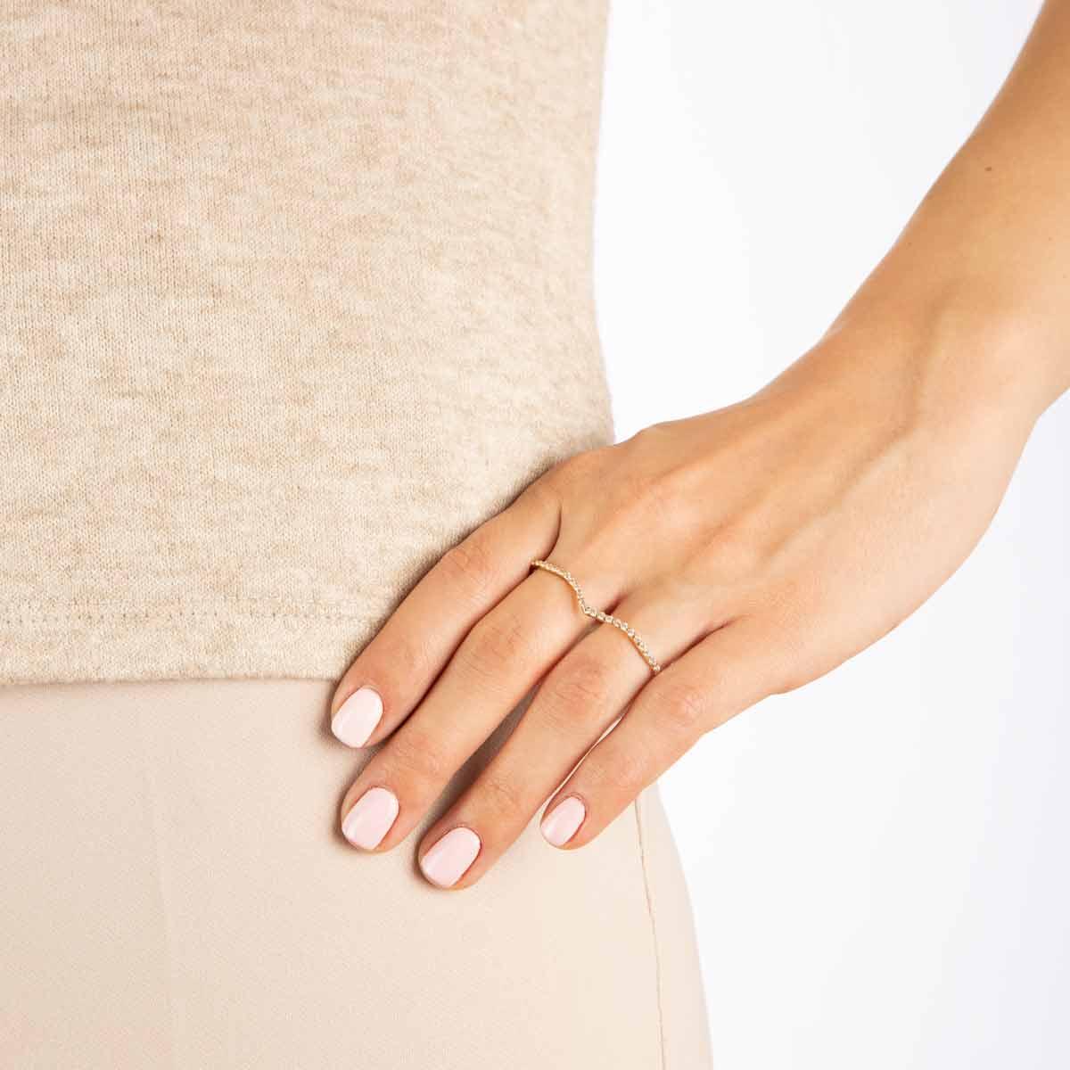 انگشتر طلا دو انگشتی آدینا
