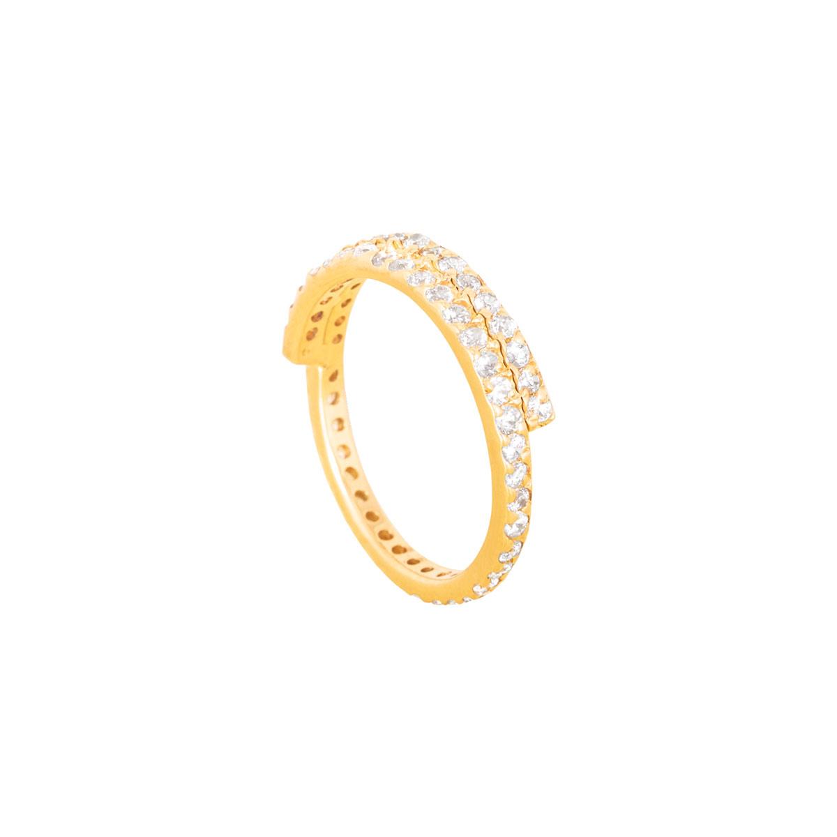 انگشتر طلا دو رینگ نگین دار پرسته |parasteh