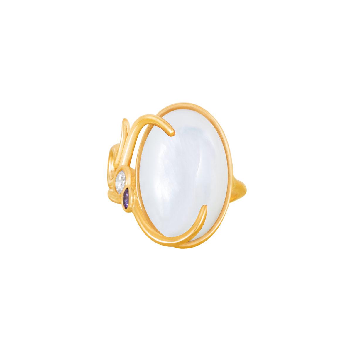 انگشتر طلا صدف بیضی و نگین پرسته |parasteh