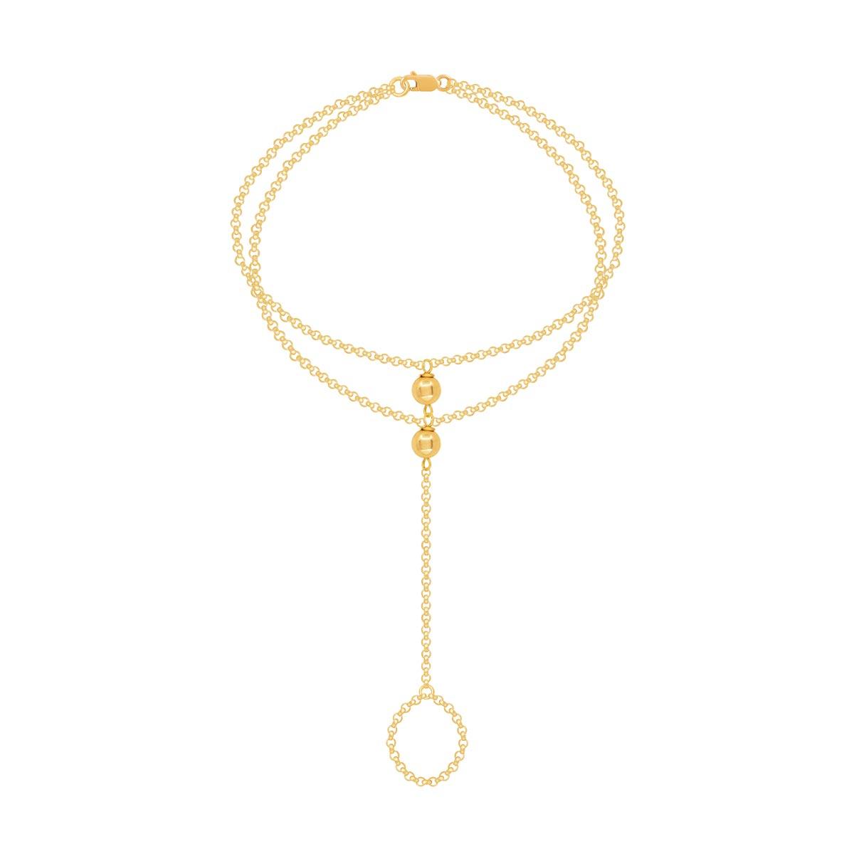 دستبند طلا زنجیر رولو و گوی پرسته