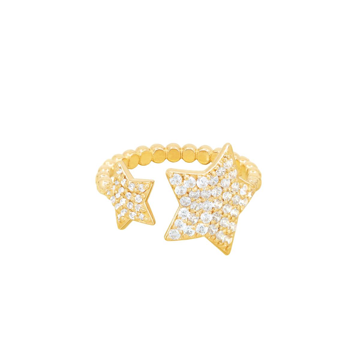 انگشتر طلا دو ستاره نگین دار پرسته