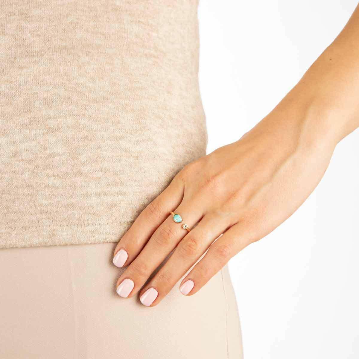 انگشتر طلا فیروزه و لونا