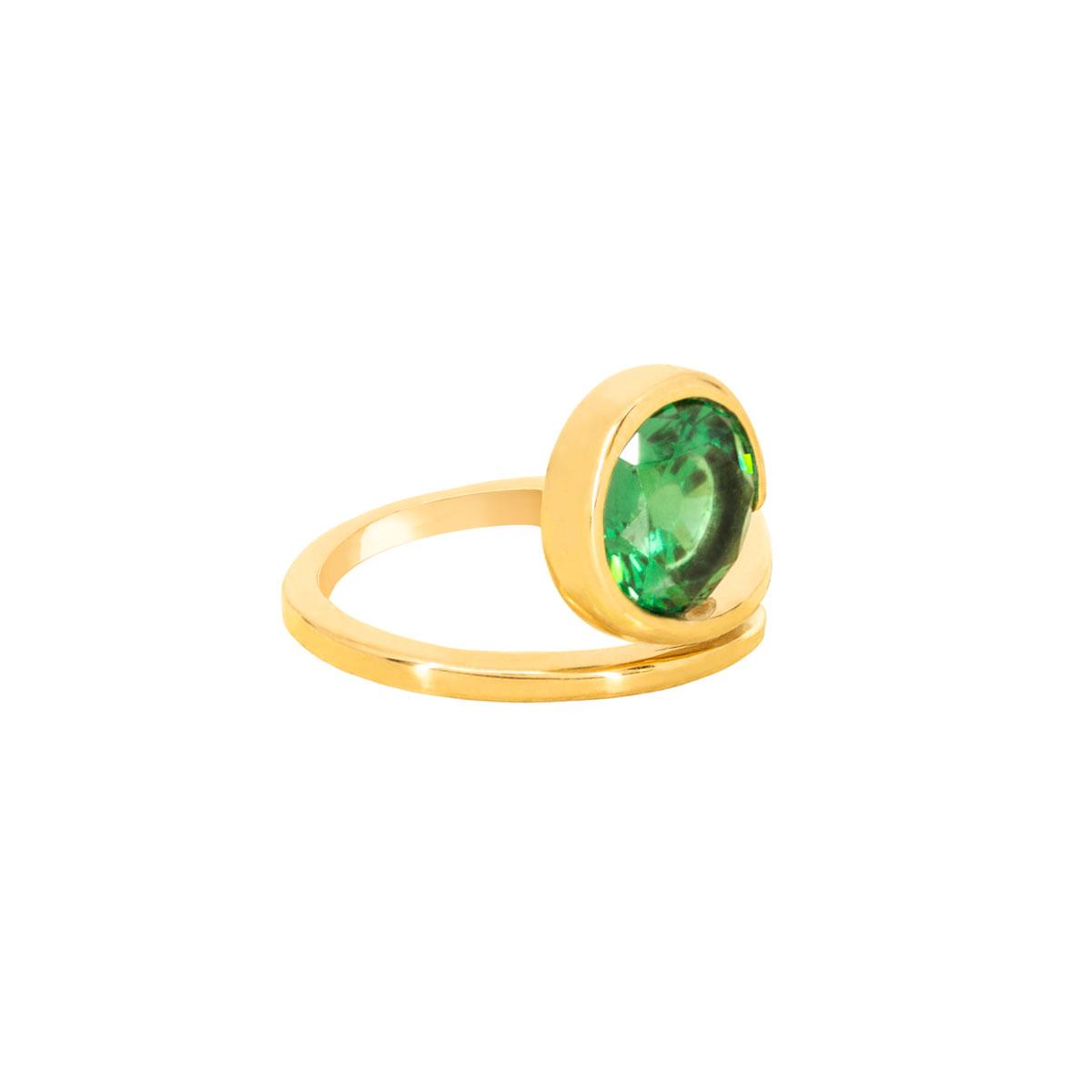 انگشتر طلا تک نگین سبز دایره