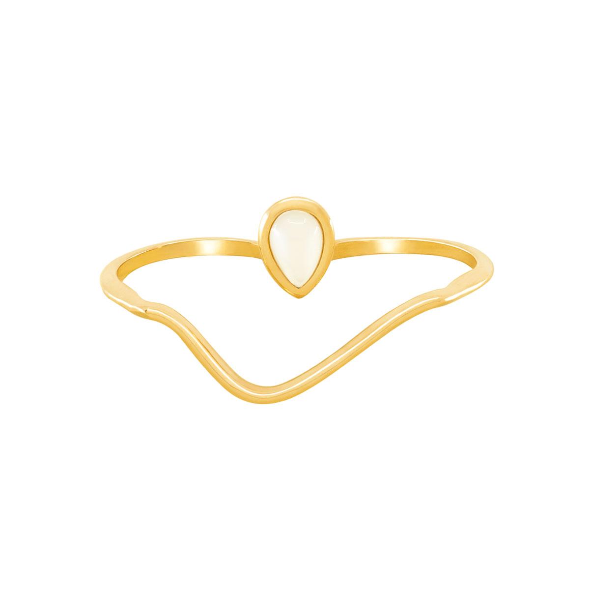انگشتر طلا دو انگشتی صدف نگین دار پرسته