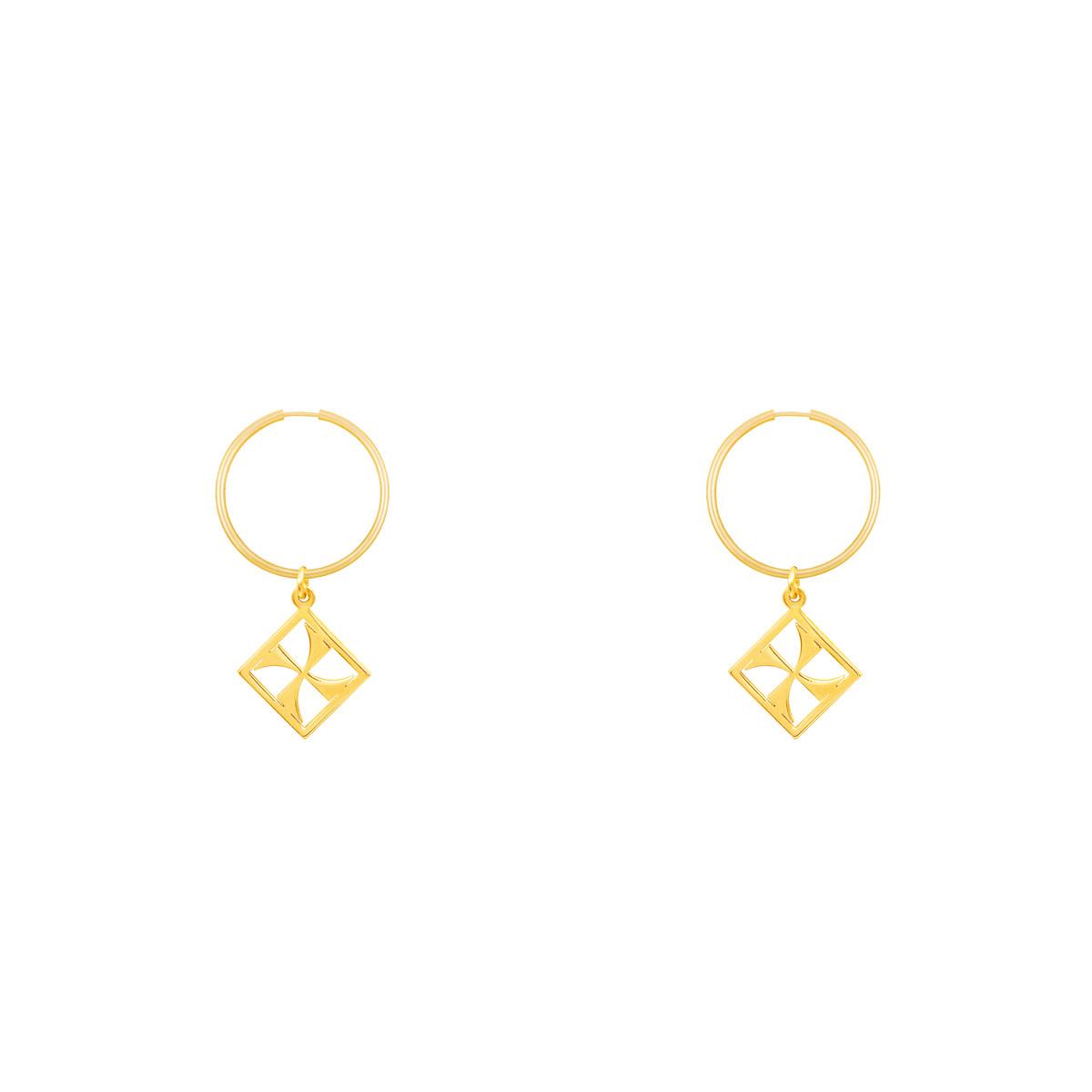 گوشواره طلا حلقه ای مهر پرسته