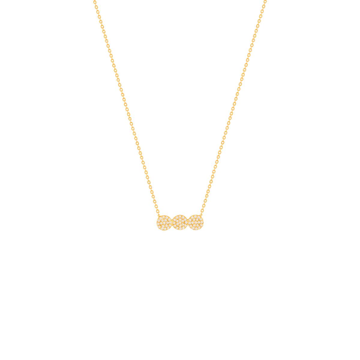 گردنبند طلا سه دایره کوچک نگین دار پرسته