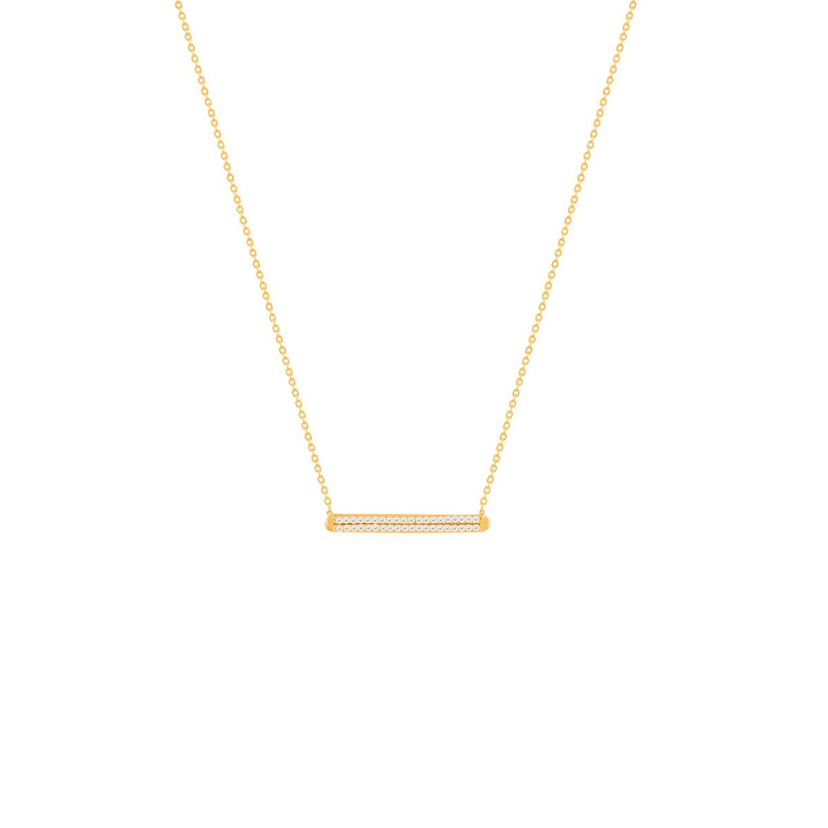 گردنبند طلا دو خط و نگین پرسته